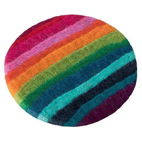 Maharanis FAIRTRADE Handgefilzter Untersetzer Unterlage 21 cm Regenbogen reine Wolle