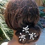 IYOU Épingles à cheveux de mariage mariée or cristal perle épingle à cheveux mousseux strass pince à cheveux mariée accessoires de mariage pour femmes et filles (lot de 3)