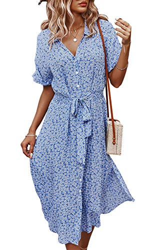Jiraewh Damen Blumen Sommerkleid Knopf Kurzarm V-Ausschnitt Lose Knielang Kleid High Waist Midi-Hemdkleid Strandkleider Polka Dots Knopfkleid(Blau-3038,L)