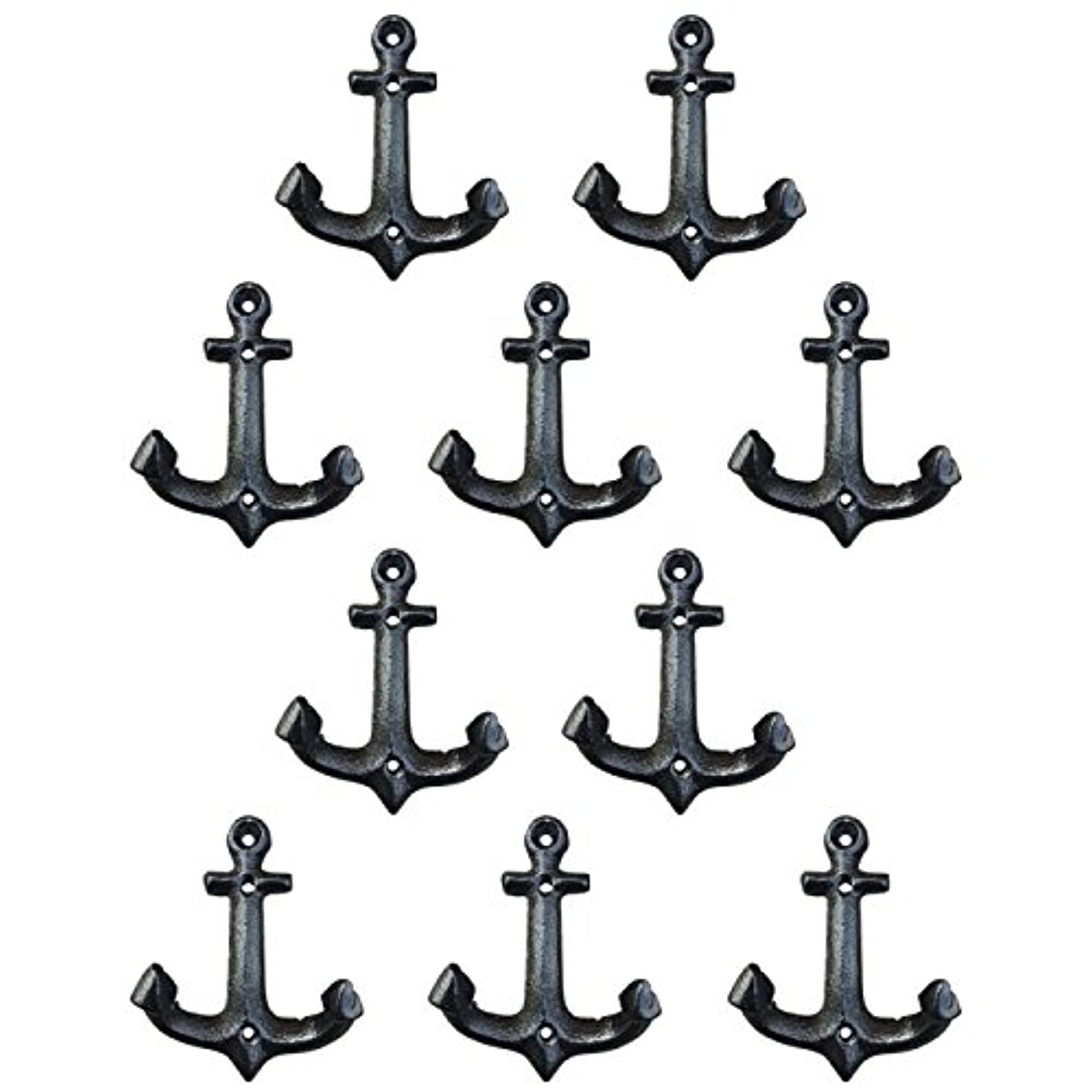 Nautical Cast Iron Ship Anchor Weathered Nautical Wall Hooks Coat Hook, Screws Included (10 PCS) bvxqal8869589