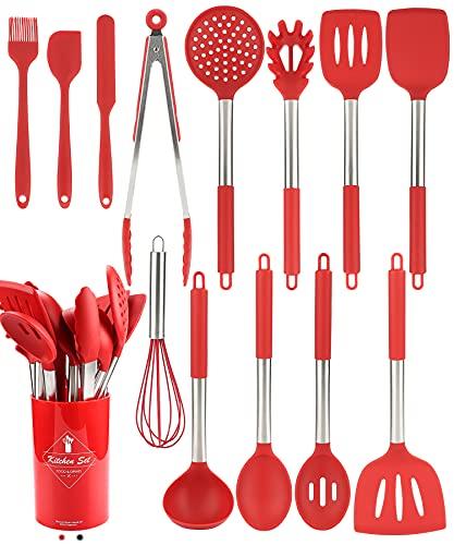 Juego de utensilios de cocina de silicona – 200 °C resistentes al calor, aptos para lavavajillas, utensilios de cocina con mango de acero inoxidable, herramientas de cocina...