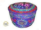 India colors Puff Kissen Handmade Stickerei Fall in Indien. (Violett)