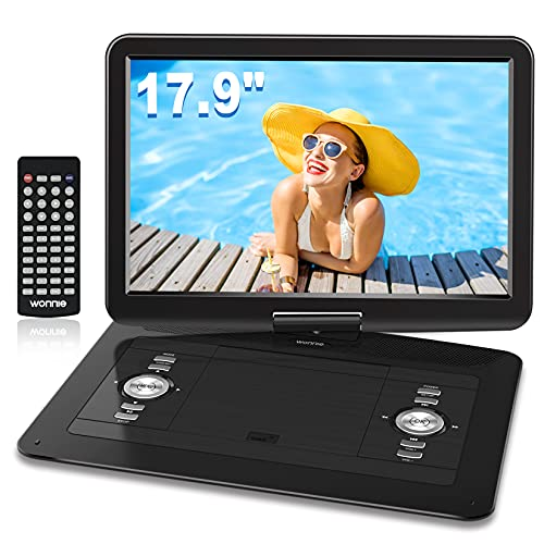 WONNIE 17.9'' Large Portable DVD CD Player with 6 Hrs 5000mAH Rechargeable Battery, 15.4'' Swivel Screen,1366x768 HD LCD TFT, Regions Free, Support USB SD Card  Sync TV , High Volume Speaker