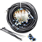 iRuiZhe Misting Cooling System Kit 59FT(18M) Misting Line DIY Outdoor Mist Cooling Kit+21 Brass Nozzles Garden Misting Irrigation System for Lawn Patio Garden Greenhouse