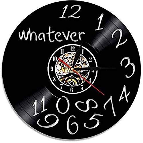 Reloj de Pared de Vinilo sin Importar qué Tan Tarde Llegue el Reloj de Pared con Disco de Vinilo sin Importar qué Tan anticuado Mural de decoración del hogar Hecho a Mano