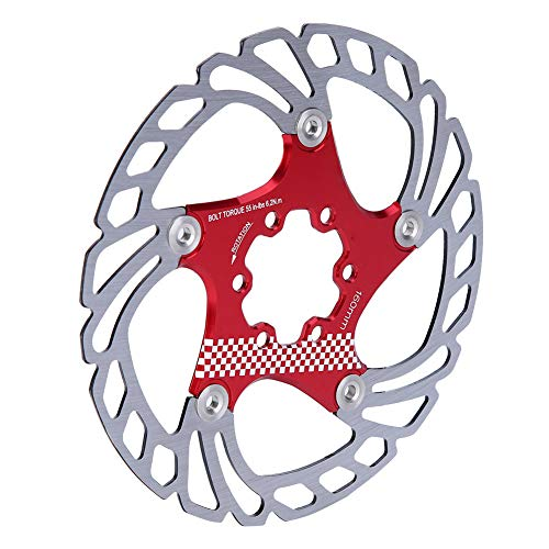 【𝐁𝐥𝐚𝐜𝐤 𝐅𝐫𝐢𝐝𝐚𝒚 𝐃𝐞𝐚𝐥𝐬】Bike Brake Disc, 180mm Easy to Adjust Bicycle Brake Disc, Bike Floating Disc Lightweight for Road Bike Mountain Bike Cycling Accessory Parts(Red+silver)