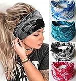 Zoestar Boho Tie Dye - Diademas para cabeza de yoga, color negro, con turbante ancho, bandas elásticas para el pelo, accesorios para el cabello para mujeres y niñas (paquete de 4)