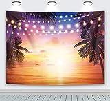 RUINI - Telón de fondo de playa tropical de poliéster para verano, diseño de atardecer en las islas del atardecer y el mar hawaiano con purpurina, telón de fondo para decoración