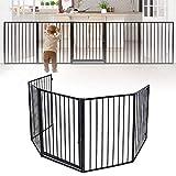 LZQ Kaminschutzgitter mit Tür Schwarz Ofenschutzgitter 5-teilig Gesamtlänge 305 cm Türschutzgitter Faltbar Absperrgitter Laufstall für Kinder Haustier