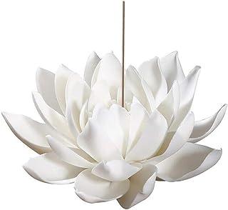 Zap Impex/® Ganesh Leaf Incense Burner ~ White Metal w// Blue Ornament