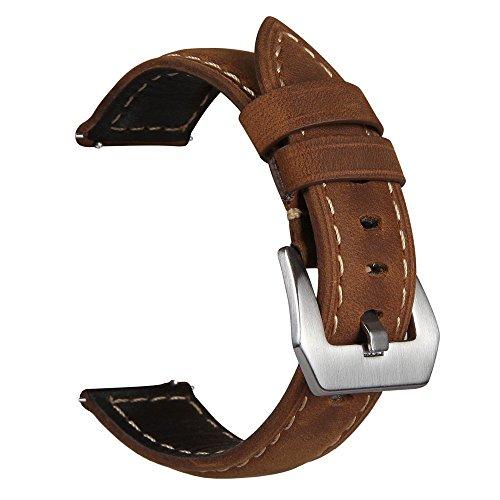 V-MORO Correas de reloj compatible con Galaxy - Correa de pulsera de repuesto de acero inoxidable de metal sólido negro para Gear S3 / Reloj Galaxy 46 mm [ Cuero Marrón con Hebilla Plateada ]