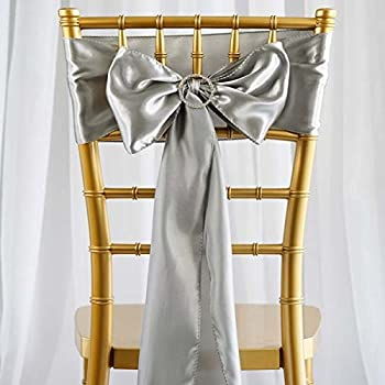 Tableclothsfactory 25pcs Silver Satin Chair Sashes Tie Bows Catering Wedding Party Decorations 6 x106