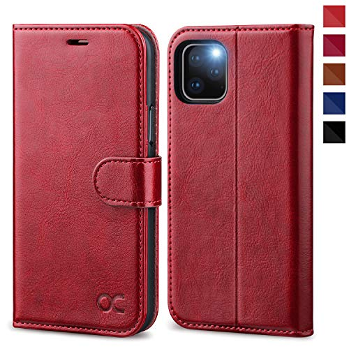 OCASE iPhone 11 Pro Hülle Handyhülle [Premium Leder] [Standfunktion] [Kartenfach] [Magnetverschluss] Tasche Flip Hülle Etui Schutzhülle Schlanke Leder flip case für iPhone 11 Pro Cover (Rot)