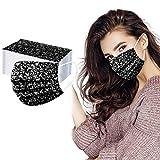 Gpure 50PC Adulto Mujer Bonitas Impresión de Moda Negra y Blanca Tela No Tejida De 3 Capas Filtros de Alta Densidad 2020 Industrial Bufanda (Negra)
