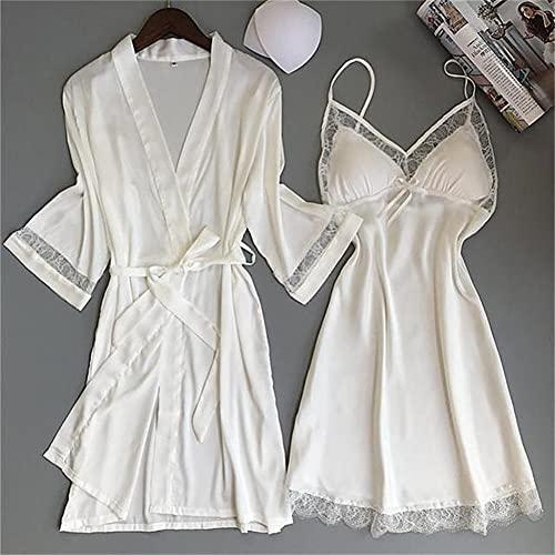 IAMZHL Donne Sexy Rayon Kimono Accappatoio Bianco Sposa Damigella d'Onore Abito da Sposa Set Pizzo Abiti da Notte Abbigliamento Casual Abbigliamento da Notte-a64-XL