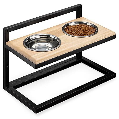 Navaris Hundebar höhenverstellbar Doppelnapf Futterstation - 2X Edelstahl Futternapf mit Halterung aus Metall und Holz - Fressnapf Hunde Futterbar