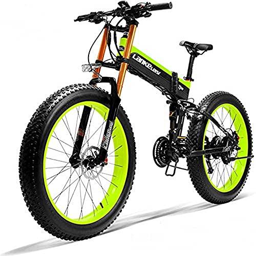 LANKELEISI XT750 PLUS Bicicletta elettrica, bicicletta elettrica per adulti con motore brushless da 1000W, bicicletta elettrica pieghevole da 26, 48V 14.5AH (verde, batteria di riserva)