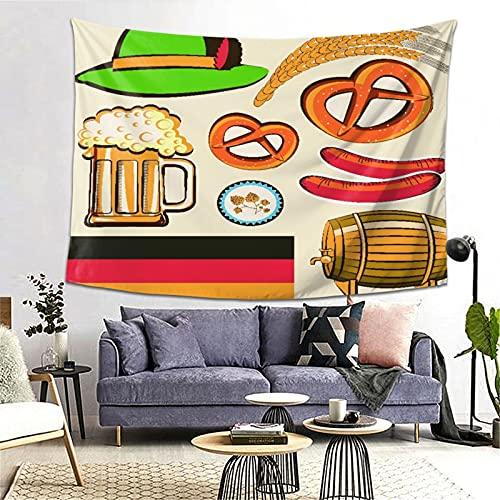 PATINISA Tapiz de Regalo,Oktoberfest símbolo Salchicha de Trigo Cerveza y Pretzels Colorido arreglo bávaro,Tapiz Bohemio diseño para Colgar en la Pared,Sala de Estar Dormitorio 80x60in