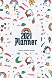 2021 Planner: Weekly and Monthly Planner , cute unicorn rainbow heart cover |...