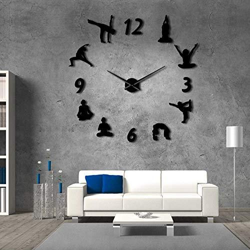 Yoga Grandes Relojes de Pared Espejo Efecto Sala de Estar DIY Wall Clock Meditation Zen Wall Art Home Decoration Frameless Clock Watch (Negro,37inch) Oogie Boogie Regalo para Cualquier ocasión, Navi