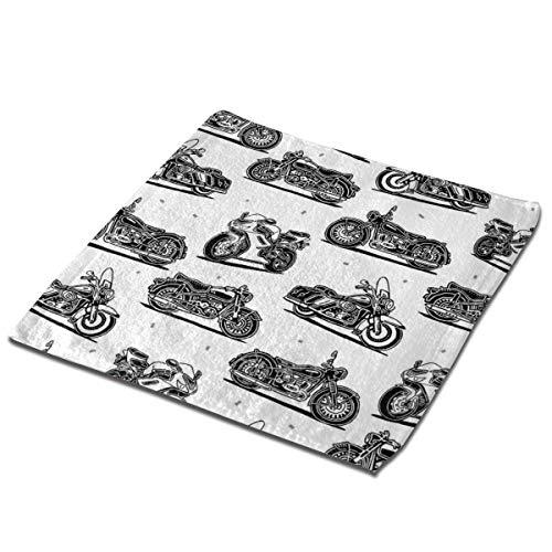 deyhfef Juego de 3 toallas de baño para baño, hotel, spa, cocina, multiusos con punta de dedos y paños faciales, 33 x 33 cm, motocicleta retro