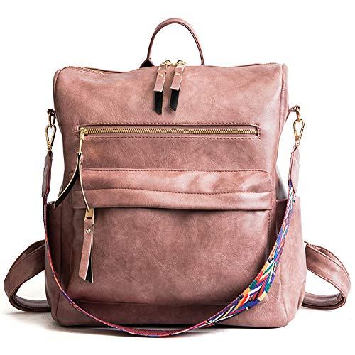 BARUYO Damenmode Leichter PU Leder Rucksack, Mädchen wasserdichte Anti-Diebstahl-Umhängetasche, Damen-Nylon-Handtaschen-Reiserucksack 11.81in*5.52in*11.81in/pink