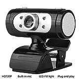 appll webcam de la cámara 720p hd pc con micrófono, 4 luces del led llena de luz usb web cam plug and play, videollamadas cámara informático adecuado para window7 o por encima