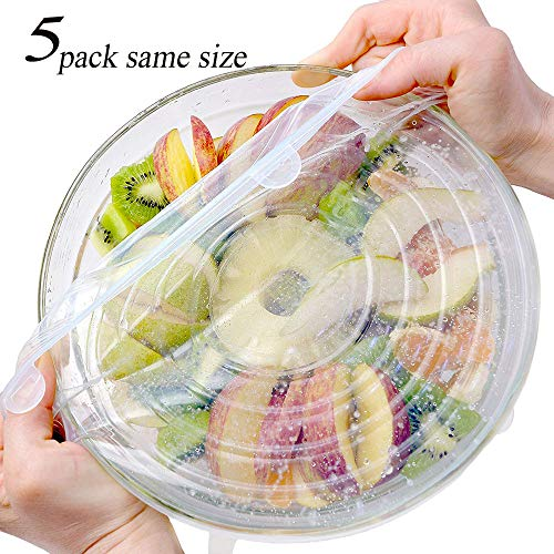 Same Universal Silicone Stretch Lids, extra large size Cover for Bowl,8 Inch 5-pack
