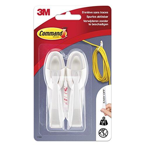 Command 17304 Kabelhänger (2 Kunststoffhaken, Größe M, bis zu 1 kg Tragkraft) 2 Haken + 2 Strips, weiß