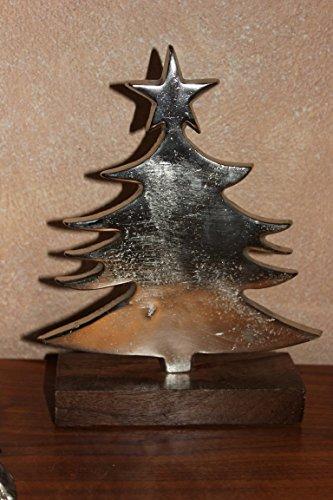 deetjen & meyer Deko-Tannenbaum aus Alu auf Holzfuß, H 22,5 cm, Weihnachtsbäumchen z. Stellen