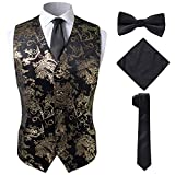SuiSional Patterned Wedding Dress Gold Tuxedo Vest with Tie,Gold,L