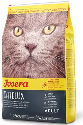 JOSERA Catelux, Katzenfutter mit Anti-Haarballen-Effekt, Super Premium Trockenfutter für ausgewachsene Katzen, 1er Pack (1 x 10 kg)