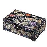 UGJ Caja Joyero Chino, Artesanías De Laca Pintada Colección Caja De Almacenamiento De Madera Organizador De Baratijas para Regalos De Cumpleaños De Las Mujeres con Bloqueo