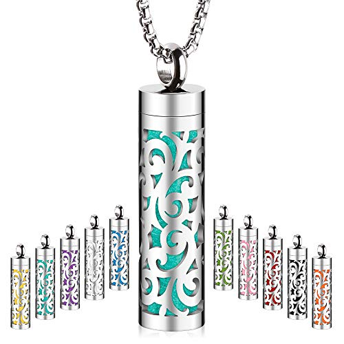 Maromalife Essential Oil Diffuser Necklace Aromatherapy Pendant Locket 316L Stainless Steel Diffuser Jewelry Necklace Gift for Men&Women