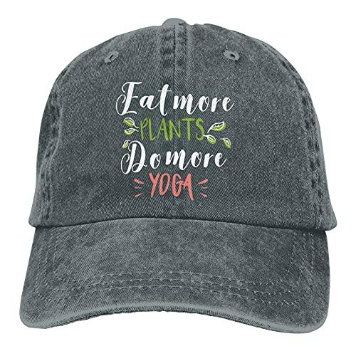 Leumius Eat More Plants Do More Yoga-1 Hats, Gorra de béisbol ajustable para hombre y mujer, algodón,...