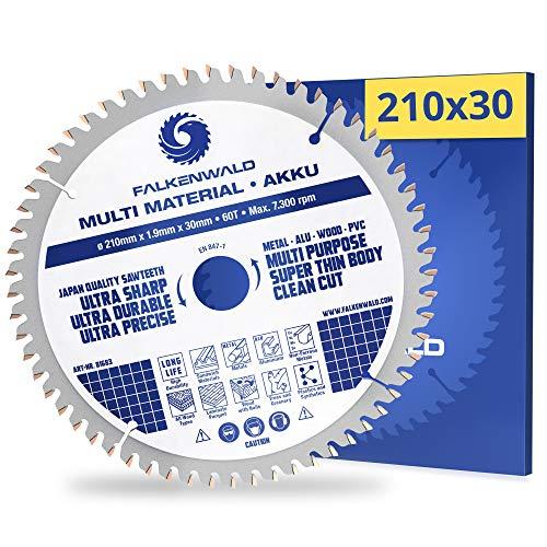 FALKENWALD® Kreissägeblatt 210x30 mm (Akku, Multi) für Holz, Metall, Kunststoffe und Alu mit 60 Hartmetallzähnen - kompatibel mit Festool TS 75 EBQ, Makita, Bosch, Einhell & weiteren Marken