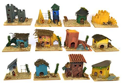 Set 12 Casette Presepe Piccole Colorate Miniatura Box assortite 8x5x h. 6 Centimetri presepio Napoletano casolari Decorazione Natalizie