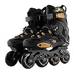 CAIFENG Ajustable Patines en línea de Velocidad en línea Patines Profesional Medio Botas de Patinaje Zapatos Tamaño 35 a 46 Patinaje Libre Negro, Tamaño: 36US 4.5UK UE 3.5JP 23cm, Color: Negro