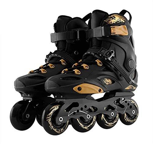 CAIFENG Verstellbare Inline Skates Geschwindigkeit Inline-Rollschuhe Professionelle Stiefeletten Skating-Schuh-Größe 35-46 Kür Schwarz, Größe: EU 36US 4.5UK 3.5JP 23cm, Farbe: Schwarz