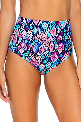 Sunsets Women's Fold Over High Waist Full Bikini Bottom Swimsuit, Serene Dream, Large