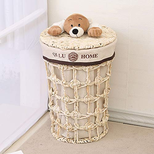 GSHWJS Cesto de Mimbre Cesta de Paja Cesta de lavandería con Tapa Cesta de lavandería Ropa Interior Ropa de Juguete Cubo de Almacenamiento Cesta de lavandería Cesto de la Ropa (Size : Small)