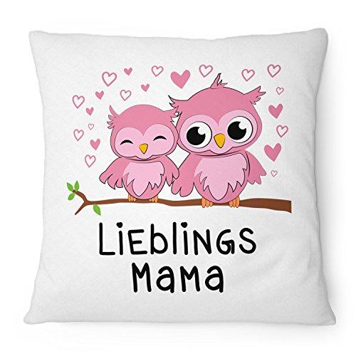 Fashionalarm Kissen Eulen Lieblingsmama - 40x40 cm mit Füllung   Geschenk Idee mit Eulen Motiv zum Geburtstag & Muttertag zum Danke sagen Mama, Farbe:weiß