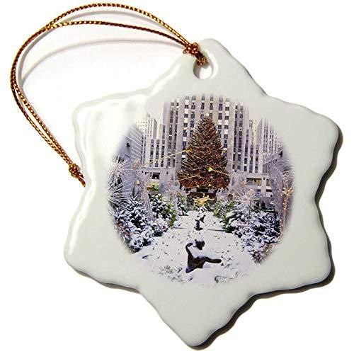 Lplpol Christmas Tree, Rockefeller Center, Manhattan, New York, USA Snowflake Holiday Shaped Porcelain Ornament Christmas
