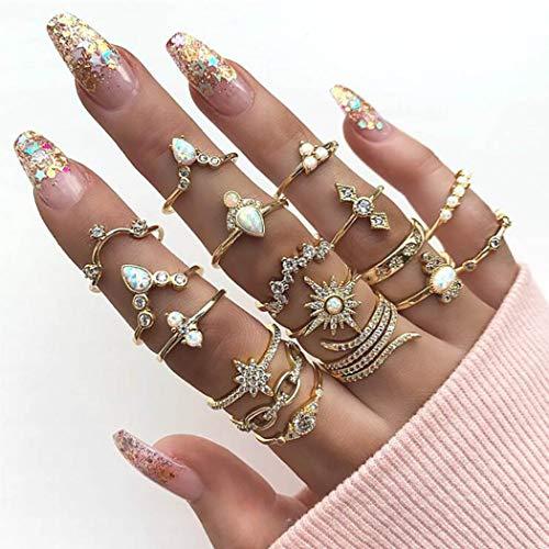 Simsly Juego de anillos vintage con diamantes de imitación de oro y diseño floral, apilables para las mujeres y las niñas (paquete de 17)