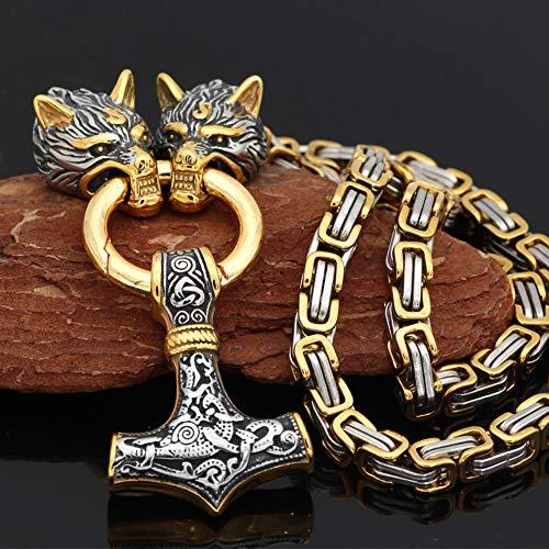 YCYR Herren Viking Thors Hammer Anhänger Halskette, Vintage Nordische Mythologie Heidnischen Mjolnir Amulett Schmuck Mit 7MM Wolf Head King Kette,Mixed Gold,70CM