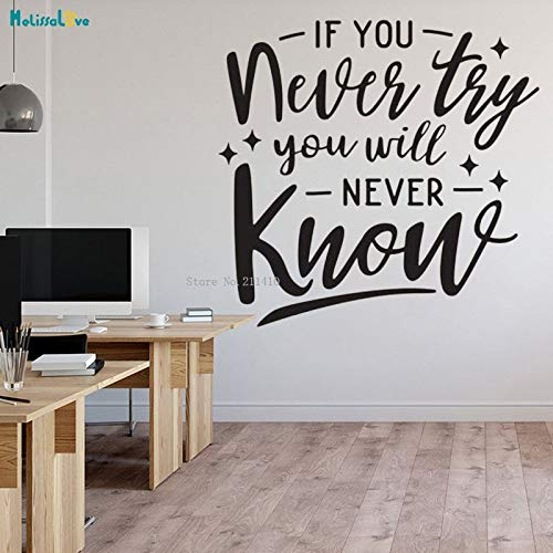 Tianpengyuanshuai If you never try, you will never know the office wall sticker team decal vinyl art poster 57x60cm