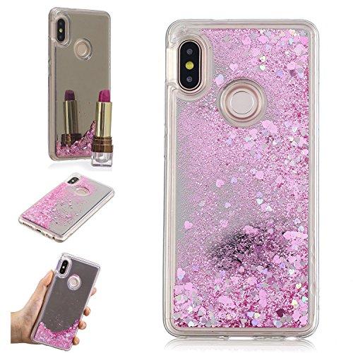 HopMore Funda para Xiaomi Redmi Note 5 Silicona Espejo 3D Glitter Liquido Brillante Purpurina Motivo Transparente TPU Gel Carcasa Resistente Case Antigolpes Caso Protección Cover - Rosa