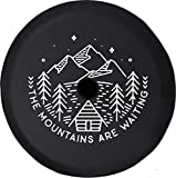 JL Series Spare Tire Cover with Backup Camera Hole The Mountains are Waiting Cabin Pine Trees Lake Black 32 in
