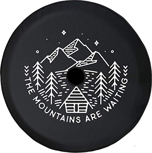 JL Series Spare Tire Cover Backup Camera Hole The Mountains are Waiting Cabin Pine Trees Lake Black 32 in Covers Tire