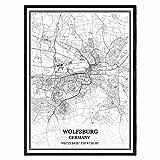 Wolfsburg Deutschland Karte Wandkunst Leinwand drucken